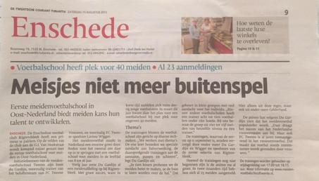 Artikel TC Tubantia over Meidenvoetbalschool Twente (inmiddels 28 aanmeldingen)