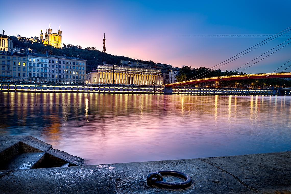 Lyon city by sunset