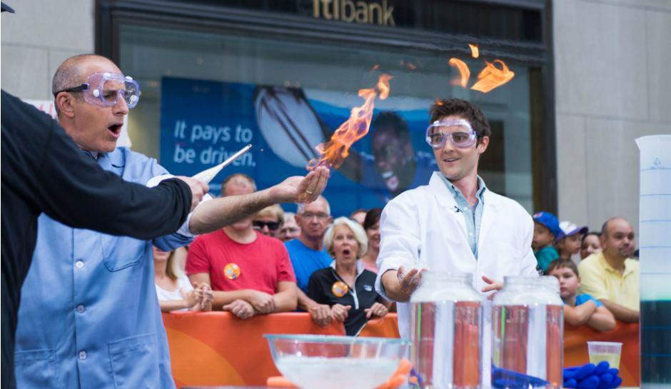 Nick-Uhas-and-Matt-Lauer-create-fire-in-