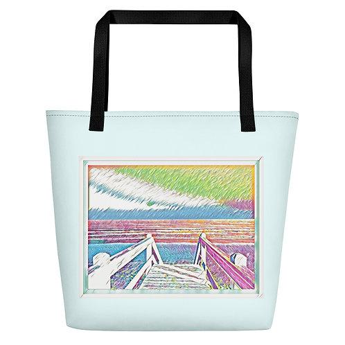 Art Print Beach Bag Ocean Beach Artwork Beachwear Tote with pocket