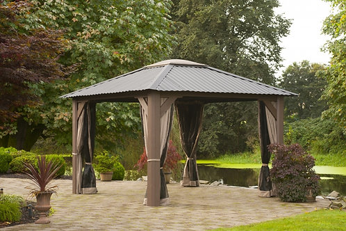 11x11 Screen Gazebo with Metal Roof and Sky Light