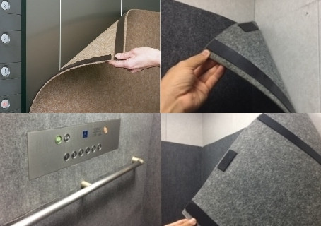 <製作事例>  エレベータ養生パンチカーペット(マグネット式)の製作(ご指定サイズ加工できます)