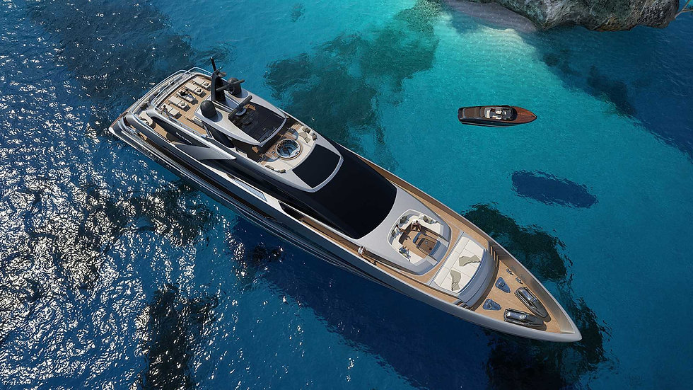 Aerial view of a superyacht in the Mediterranean
