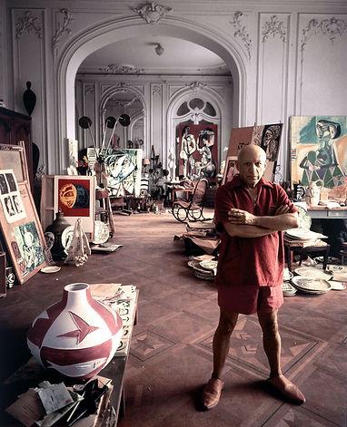 Picasso in his art studio-Ariodante Beyo