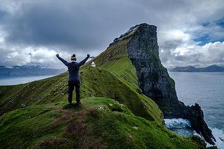 Faroe Islands Victorious over a mountain
