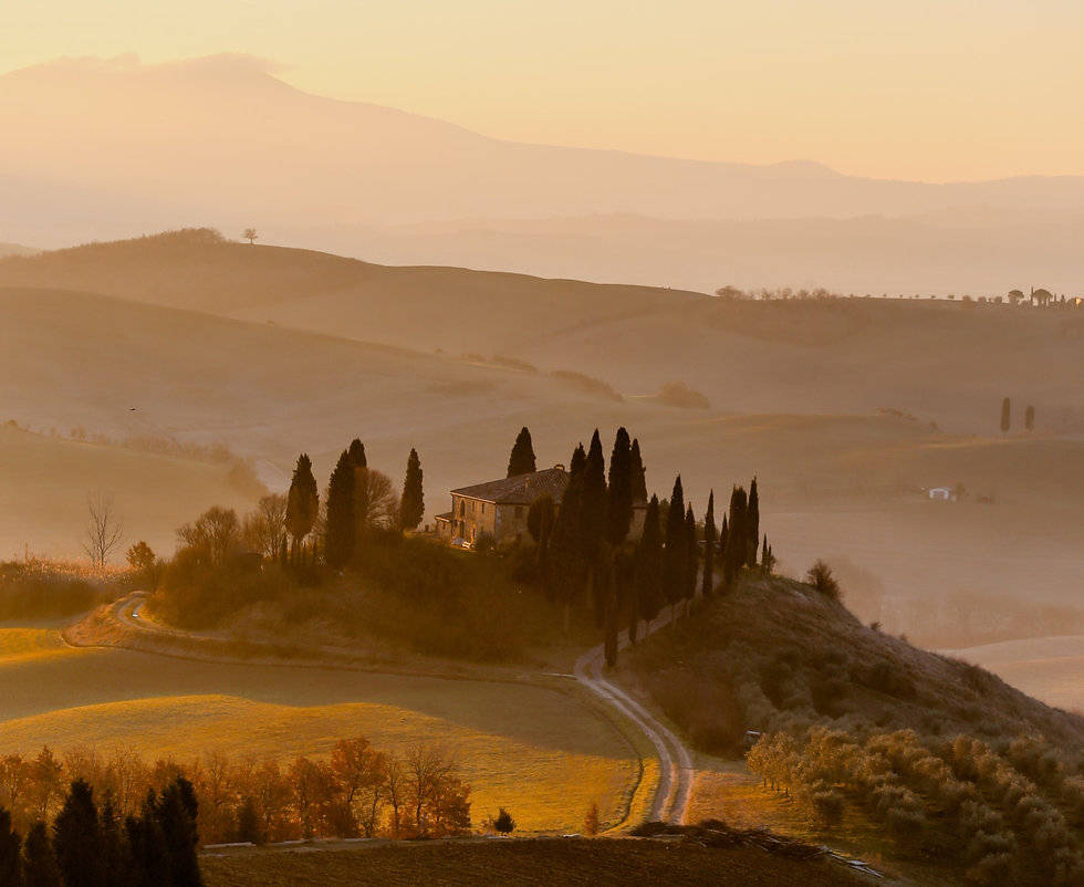 Sunset over a Tuscany landscape