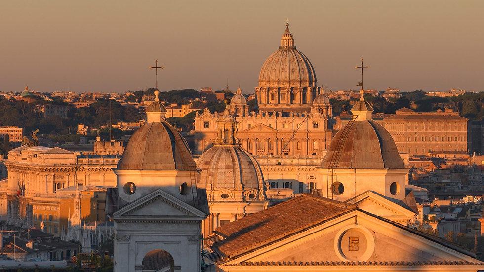 Sunset over St Peter Basilica - Vatican Rome Landscape