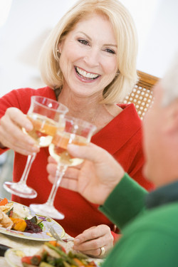 High Res_Woman and Man raising a toast