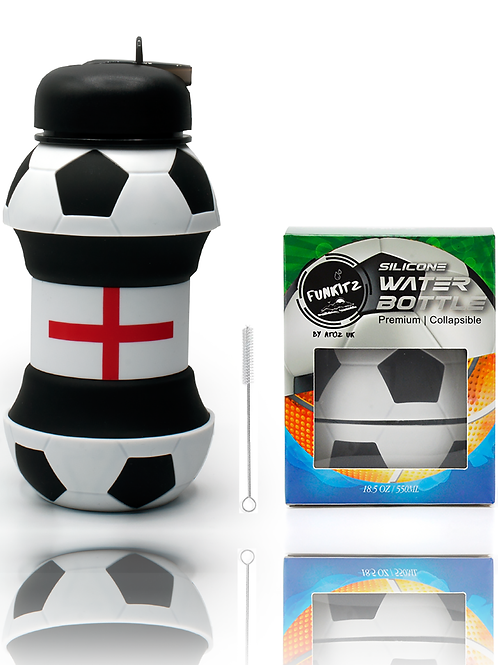Collapsible Football Shaped Water Bottle with England Flag