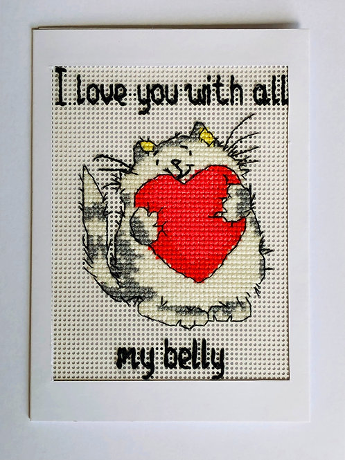 """I love you with all..."" cross stitched card"