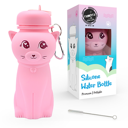 Cute Cat Shaped Silicone Water Bottle