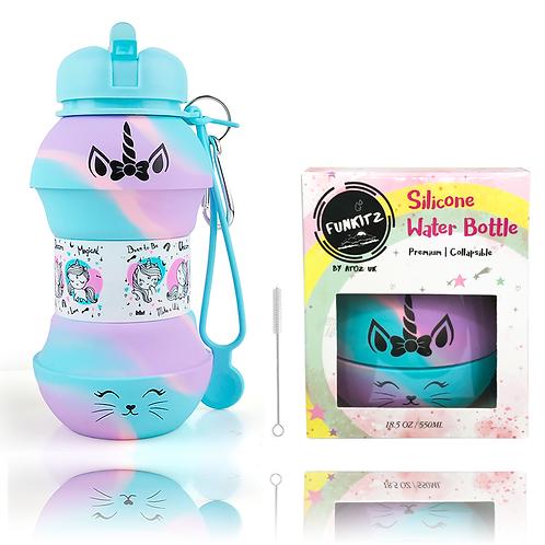 Unicorn/ Kittycorn Collapsible Water Bottle Rainbow