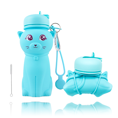Cute Kids Cat Shaped Silicone Water Bottle
