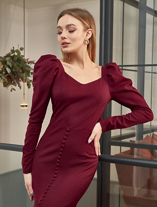 Fitted Dress With A Deep Neckline