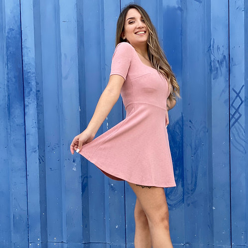 Pink Fitted Short Dress