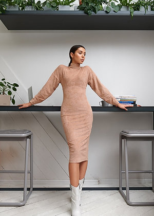 Suede Dress With Puffy Sleeves