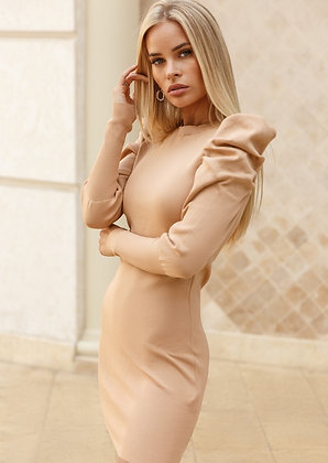 Bodycon Beige Ribbed Dress