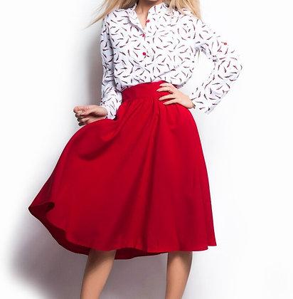 Red Flared Skirt