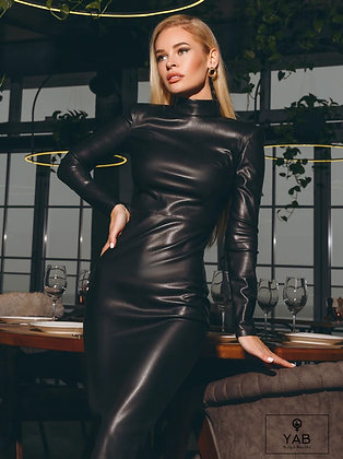 Eco-Leather Fitted Black Dress