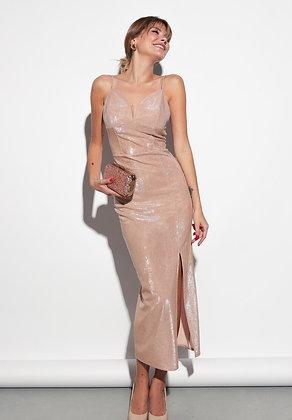 Shimmering Slim Fit Evening Dress