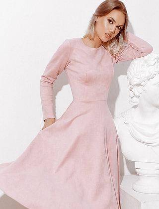 Stylish Pink Suede Dress