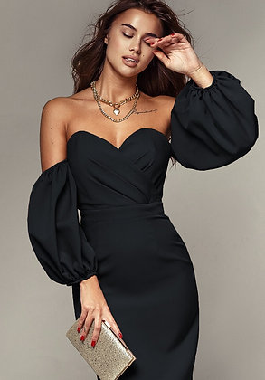 Black dress with curly bodice