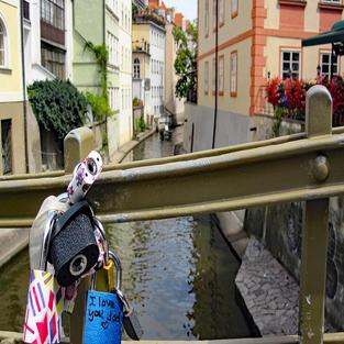 Love Padlocks on a Prague Bridge.