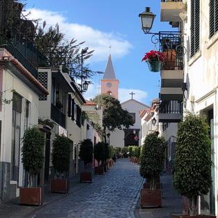 Street and church tower Camara de Lobos