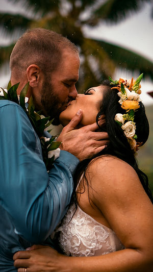 passionate first kiss Maui wedding photo Hawaii USA