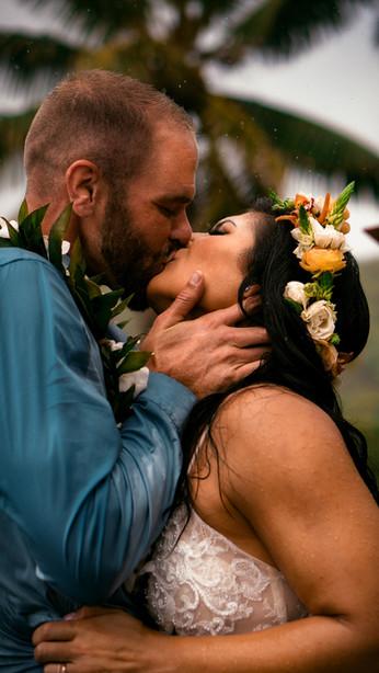 Maui Hawaii USA first kiss wedding photo