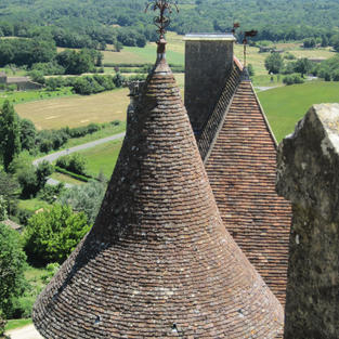 Chateau de Biron Terracotta roof tiles on a Tower