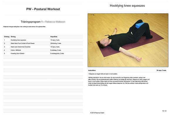 Bilden visar exempel på olika postural träning övningar.