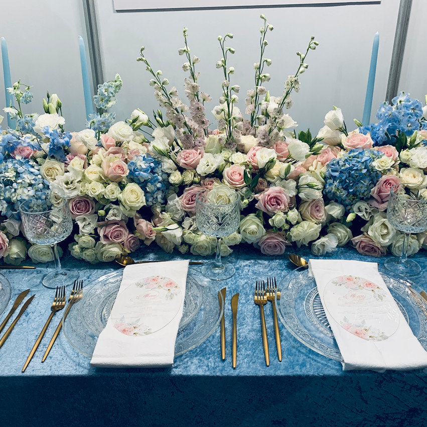 Blush and Blue table flowers