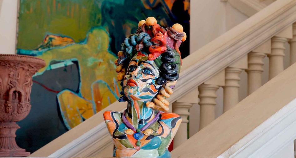 Scultura testa ceramica Medusa Ciclope in ceramica busto