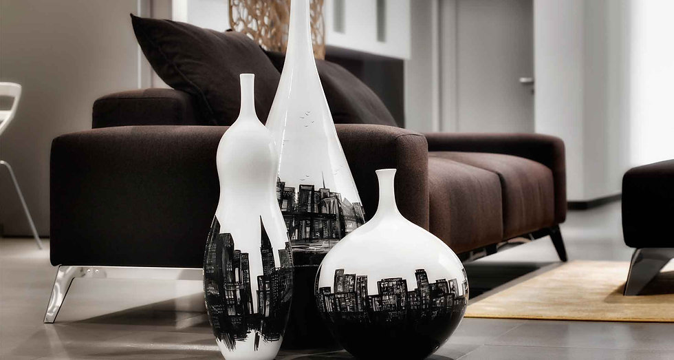 Suggestivi vasi alti fino a 90 cm con skyline new york