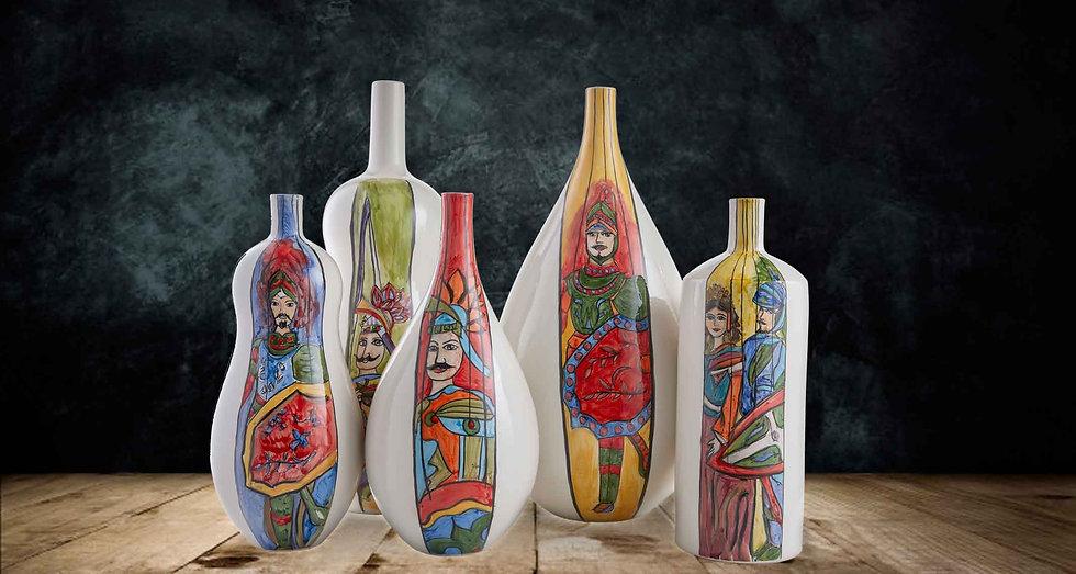 vasi con i pupi siciliani, un motivo tratto dall opera dei pupi