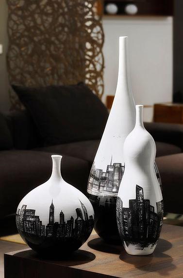 Exclusive vase skyline new york black and white of design furniture