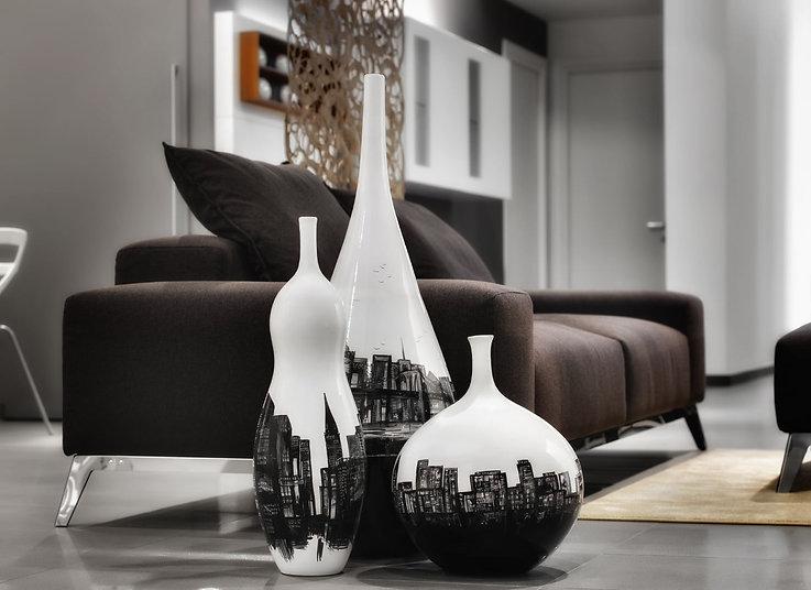 black and white vases new york skyline, for living and office or studio