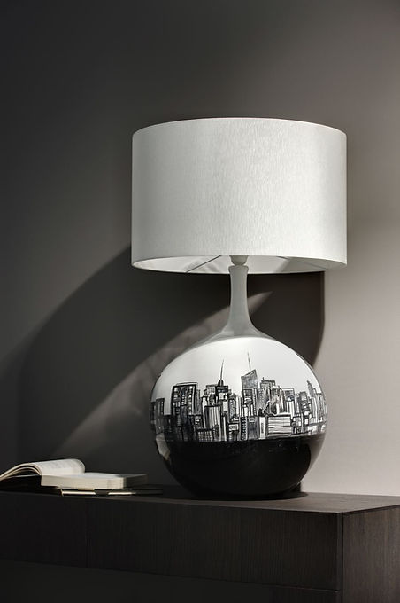 design lamp black and white with new york skyline