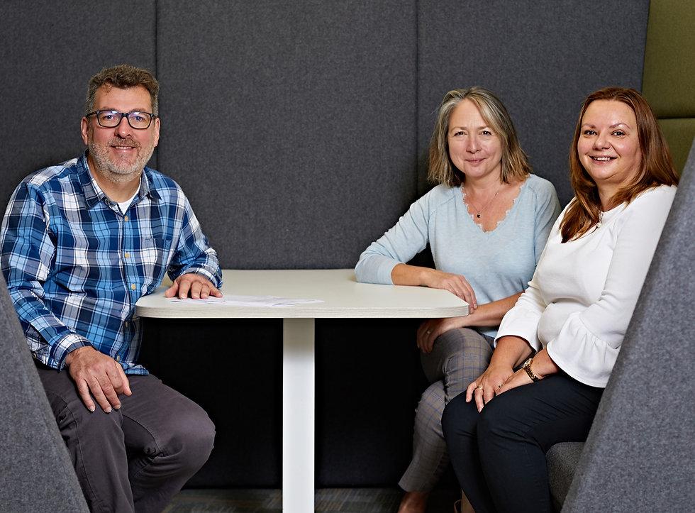 Academic Study Consultants 'My Professor' team of Dr Chris Ireland, Dr Gillian Byrne and Halina Harvey.