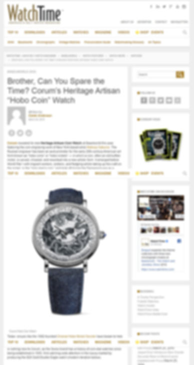 "Brother, Can You Spare the Time? Corum's Heritage Artisan ""Hobo Coin"" Watch"