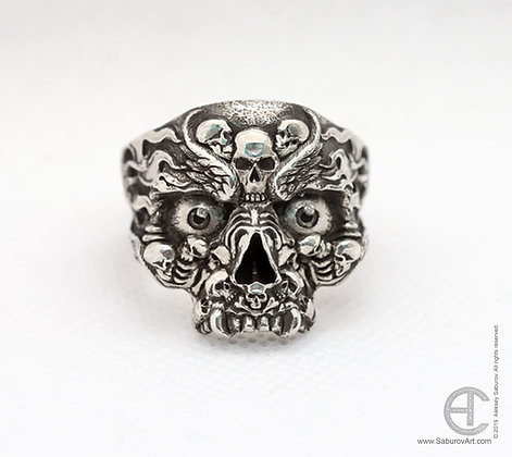 Diamond eyes skull ring with flames & feathers. Style #RS007SD