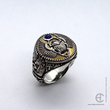 Egyptian Scarab Beetle ring. Style #RE001SLRS