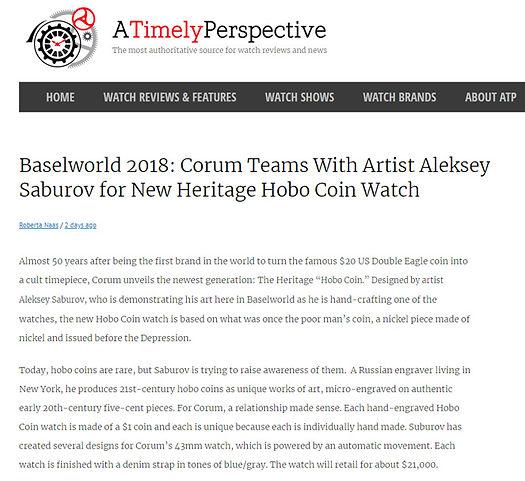 Baselworld 2018: Corum Teams With Artist Aleksey Saburov for New Heritage Hobo Coin Watch