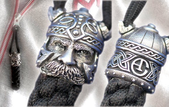 "Sterling silver ""Viking"" bead paracord keychain."