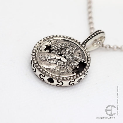 Puzzle Coin pendant. Style #PPC002S
