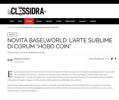 "NOVITÀ BASELWORLD: L'ARTE SUBLIME DI CORUM ""HOBO COIN"""