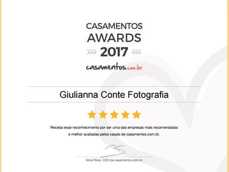 Bicampeã ~ Prêmio Casamentos Awards 2017 na categoria Fotografia