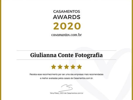 Tetracampeã ~ Prêmio Casamentos Awards 2020 na categoria Fotografia