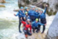 Groupe en canyoning dans les gorges du Verdon